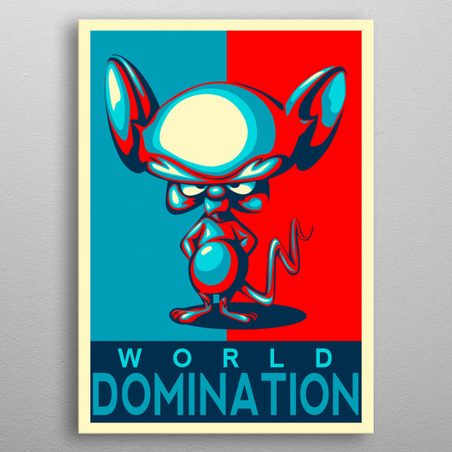 ilustration, tv show pinky and brain metal poster
