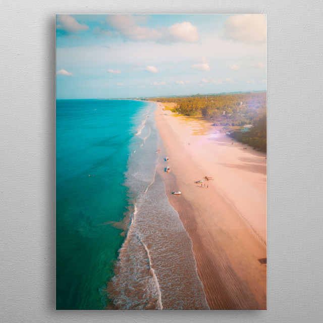 Shot at Nilaveli Beach, Trincomalee Sri Lanka during mid day where I got inspired by the strong bright blue shade of the ocean. metal poster