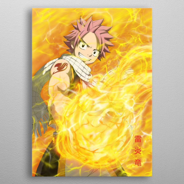Natsu Dragneel in Lightning Fire Dragon Mode metal poster
