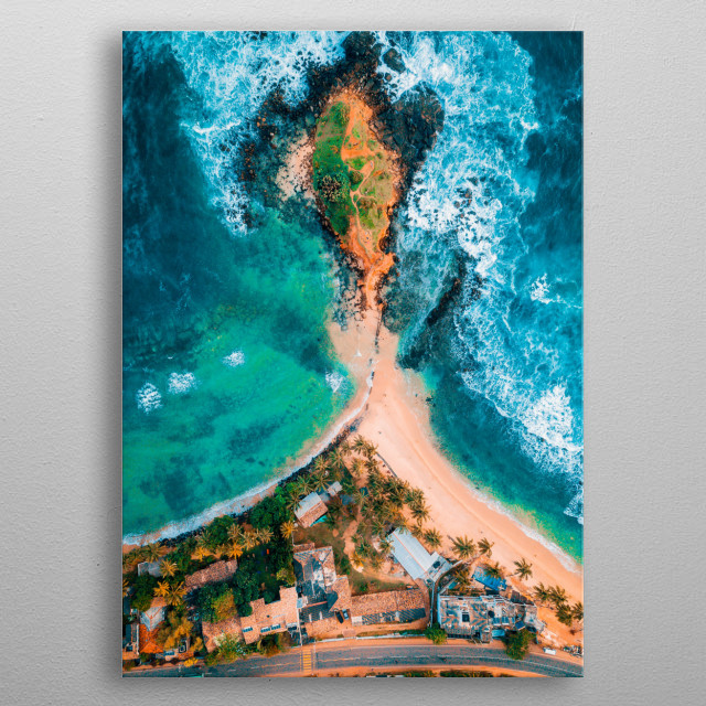 Birds eye Aerial shot of Mirissa Beach, Sri Lanka metal poster
