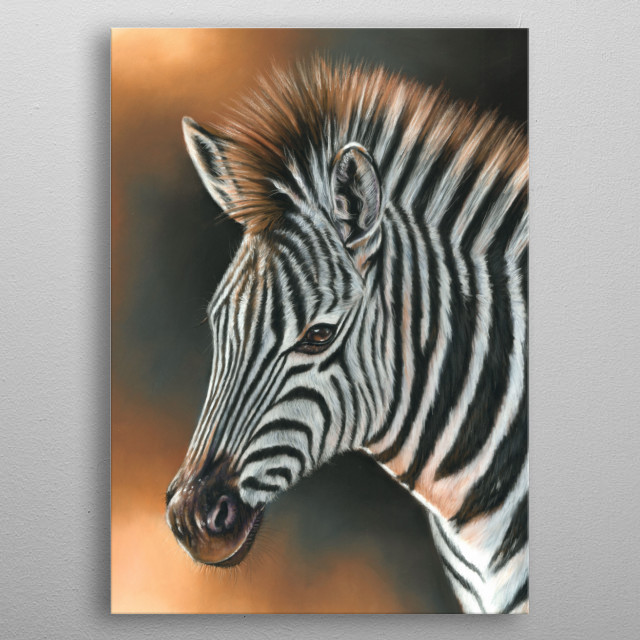 Portrait of a zebra. This artwork was created using soft pastels. An ideal gift for any wildlife lover. metal poster
