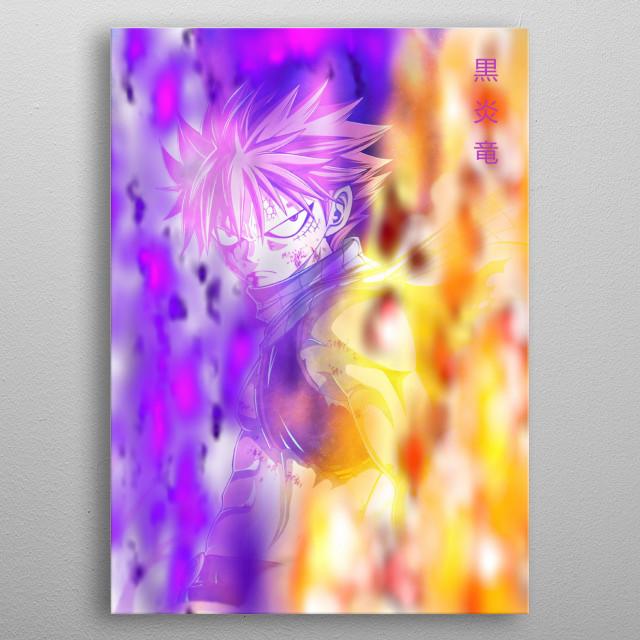 Natsu Dragneel in Black Fire Dragon Mode metal poster