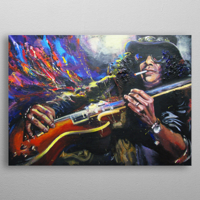 Expressionistic portrait of famous rock guitarist Slash. Original artwork  by Irina Sergeyeva, acrylic painting on canvas metal poster