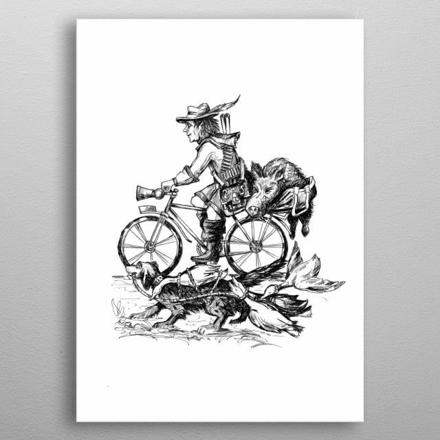 A hunter with a faithful friend dog, after a hunt, a boar is brought home on bicycle metal poster