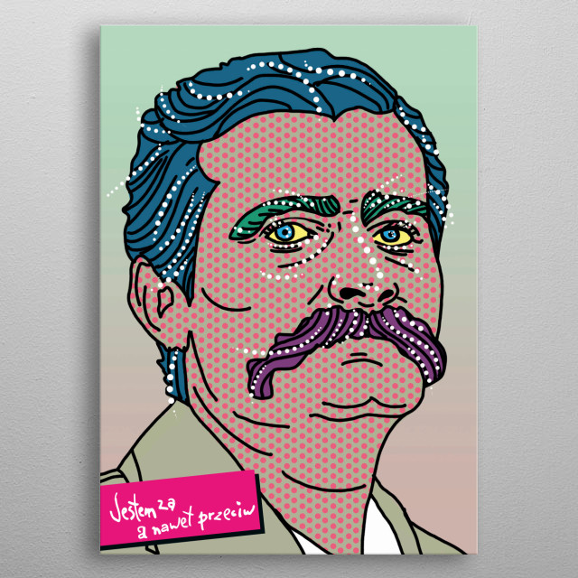 The poster present Lech Walesa. In 1980 Lech Walesa became famous as the leader of the workers in the fight for freedom.  metal poster