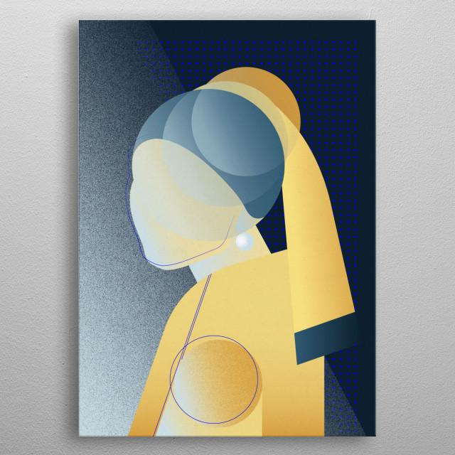 Neo-pop interpretation of Johannes Vermeer Girl with a Pearl Earring metal poster