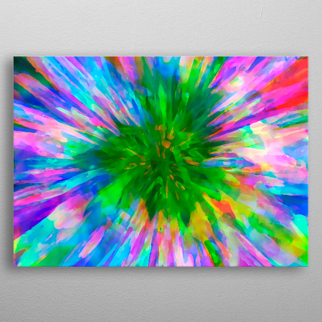 Originally a photo of a daisy type flower I have digitally manipulated it to create this colourful artwork. metal poster