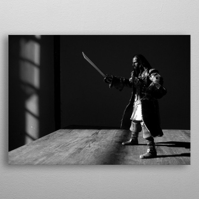 A photo of the figure of Blackbeard, a character in the Pirates of the Caribbean series. metal poster