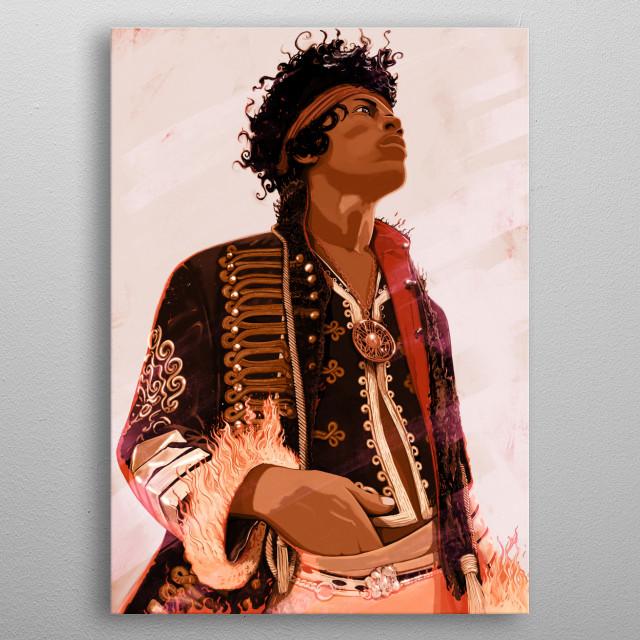 A digital painting of classic rock legend Jimi Hendrix metal poster