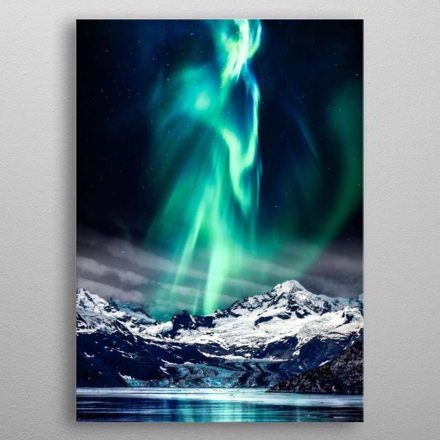 Aurora and Mountain metal poster
