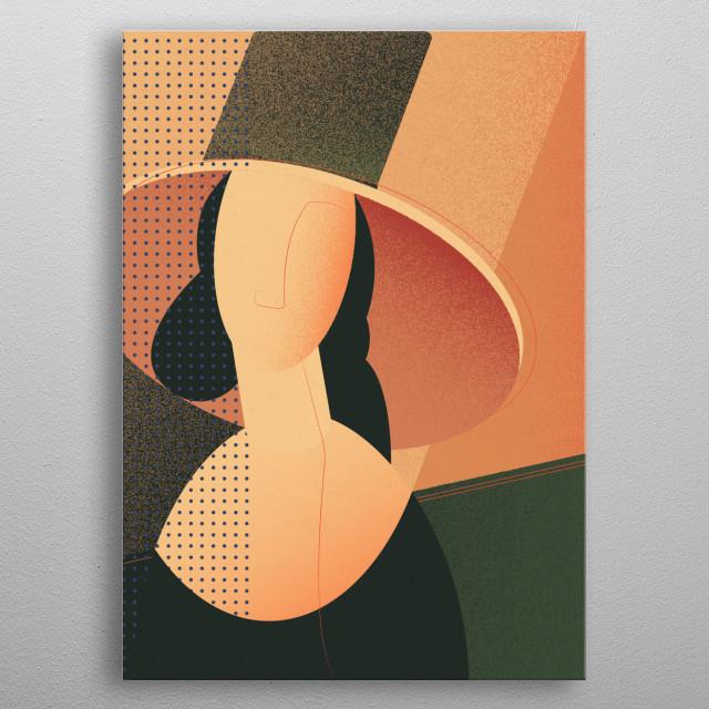 """Neo-pop interpretation of Amedeo Modigliani """"Portrait of Jeanne Hebuterne in a large hat"""" metal poster"""