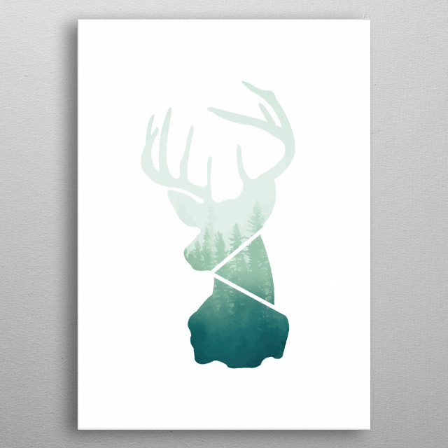Abstract deer poster, Green forest, Double exposition, Woodland abstract deer poster, Wall art poster, Minimalist abstract poster metal poster