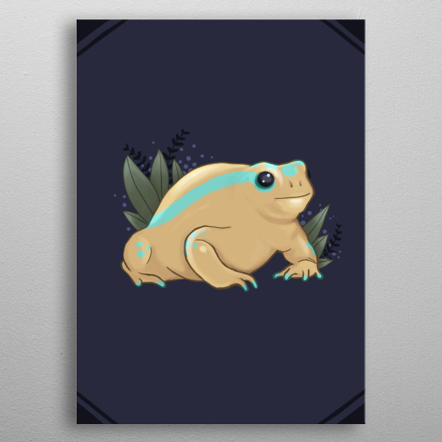 Yellow-blue frog with leafs metal poster
