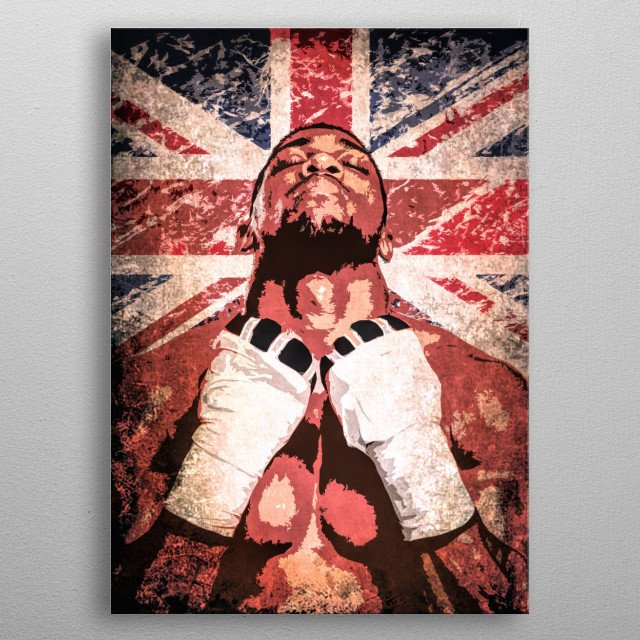 Boxer Anthony Joshua - pop art portrait with flag of the Great Britain. metal poster