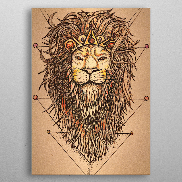 """""""Lion"""" King of the jungle.  metal poster"""