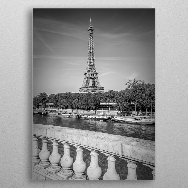 The Eiffel Tower is one of the most visited landmarks in the world. Classical monochrome impression from Paris. metal poster