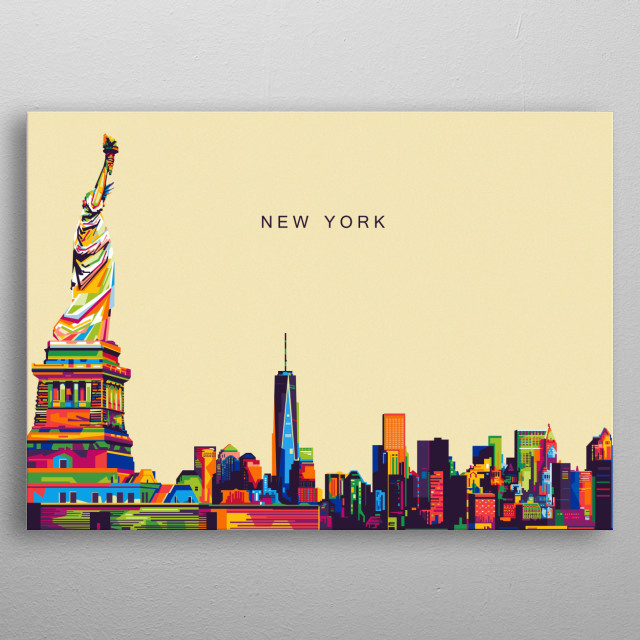 An illustration of a New York city and Statue of Liberty. metal poster