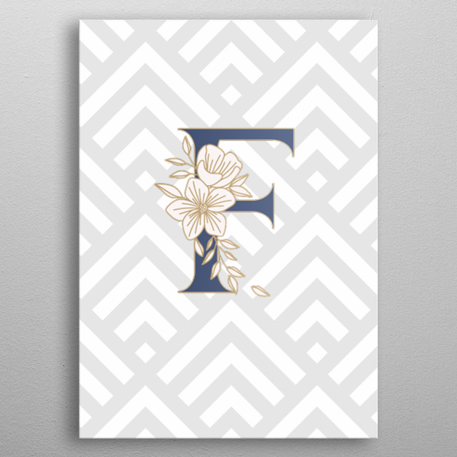 Golden letter F with seamless pattern  metal poster