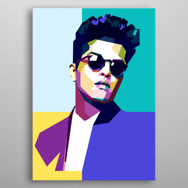 This artwork is inspired by a popular singer, Bruno Mars. metal poster