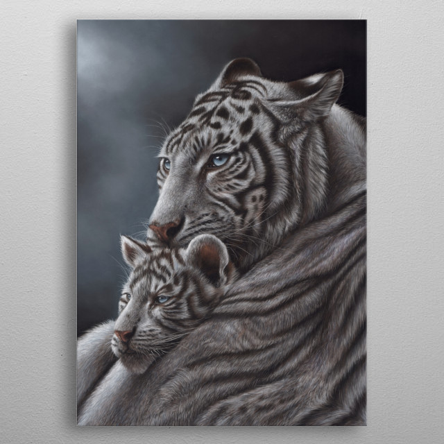 The largest of the big cats and one of the worlds most popular animals. This image of a white tiger and cub is from a pastel painting. metal poster