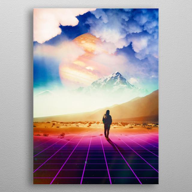 surreal digital scifi collage  metal poster