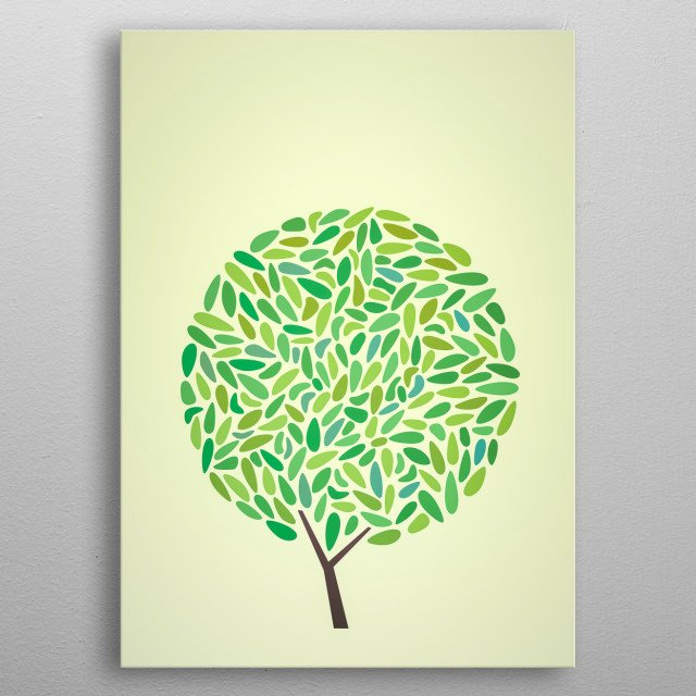 Illustration of a tree metal poster