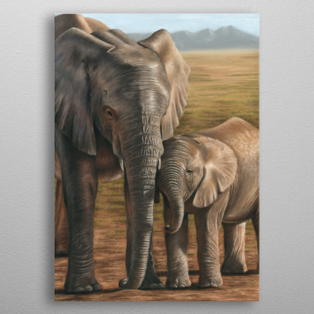 This image of an elephant and calf is from an original pastel painting. This would make an ideal gift for any wildlife lover. metal poster