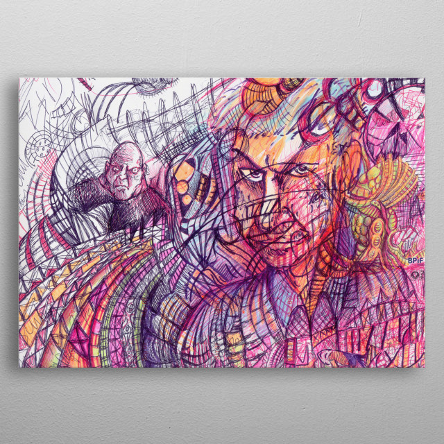 Abstract art featuring faces and comic characters metal poster