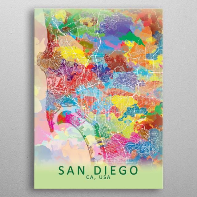 San Diego Splash City Map Maps Poster Print | metal posters ...