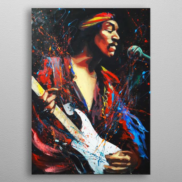 Expressionistic portrait of legendary rock-guitarist Jimi Hendrix. Original artwork by Irina Sergeyeva, acrylic painting on linen. metal poster