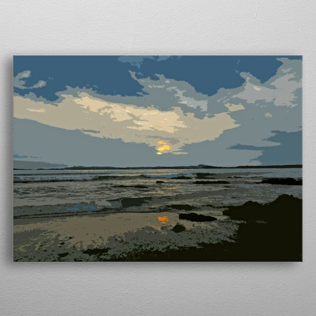 Originally a photo of a beach at Rhosneigr on Anglesey, North Wales, I have manipulated it to create this artwork. metal poster