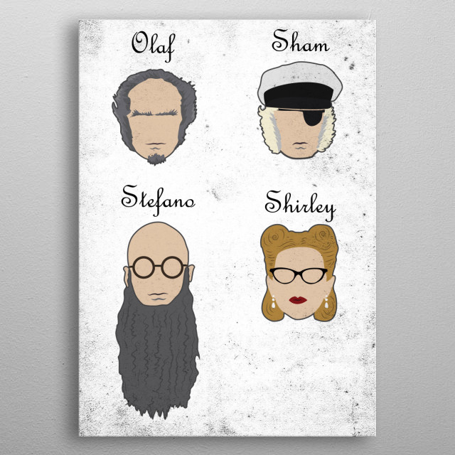 Illustration of the various disguises of Count Olaf. metal poster