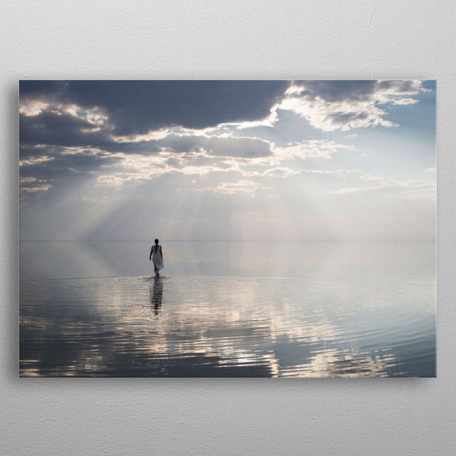 Large mirror, salt lake Elton, on its reflection you can walk like on the ground . metal poster