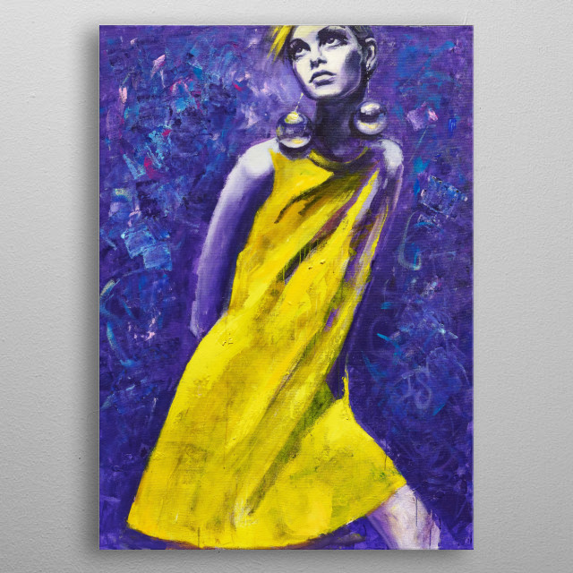 Twiggy in yellow dress, fantasy artwork inspired by forever young Twiggy. Original painting, acrylic on linen metal poster