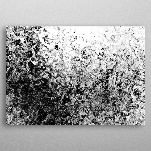 Minimalist Digital Art that plays on how oils behave on water, with a high-contrast, monochrome aesthetic twist for a sleaker, finer look. metal poster