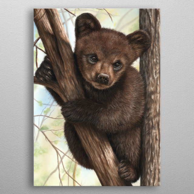 Portrait of a brown bear cub in a tree. This image was created using soft pastels. An ideal gift for any wildlife lover. metal poster
