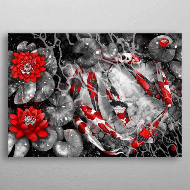 Nine Koi Fishes and lotus flowers metal poster