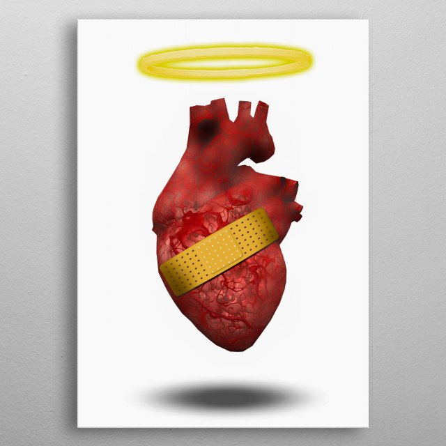 Wounded good heart with angelic halo metal poster