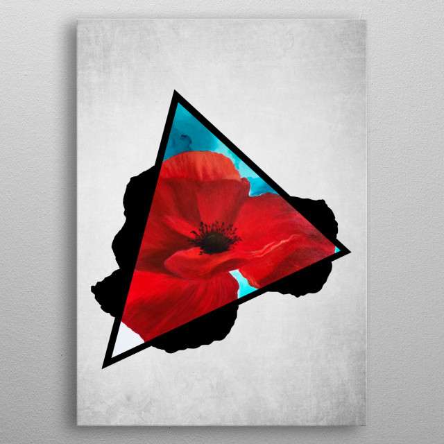 A digital illustration of an acrylic painting of a red luscious poppy flower popping out from a triangle. metal poster