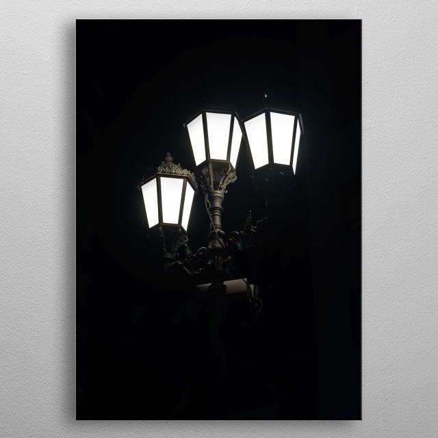 A lamppost in the darkness of the Andalusian night. metal poster