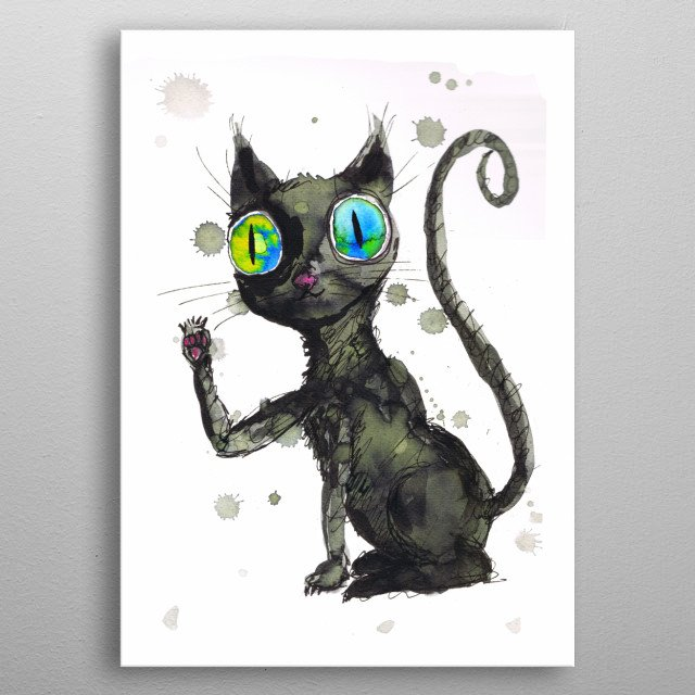 A watercolor painting of a cute black kitten with blue eyes. Grunge style with drippings metal poster