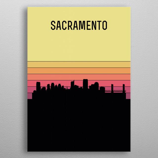 Sacramento Skyline metal poster