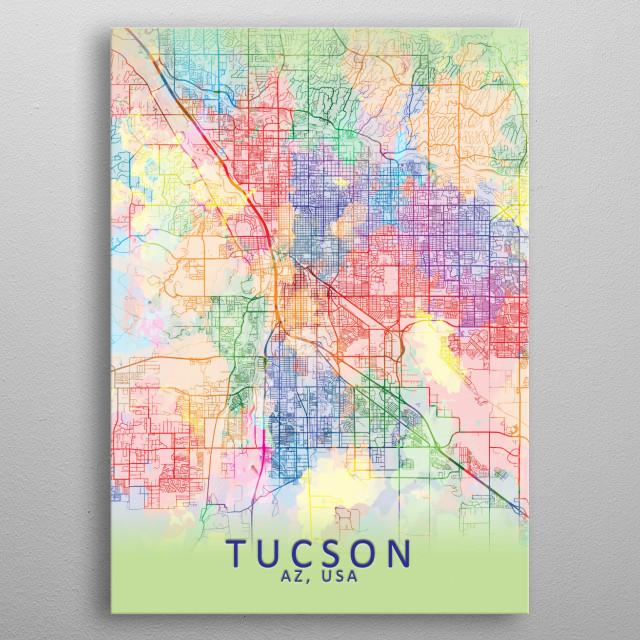 Tucson Splash City Map Maps Poster Print   metal posters ... on arizona tucson, zip code map tucson, weather tucson, street map tucson,