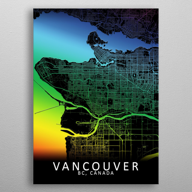 Vancouver, BC, Canada, Rainbow City Map metal poster