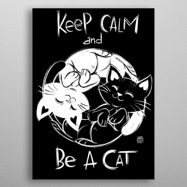 Cats inspired illustration. metal poster