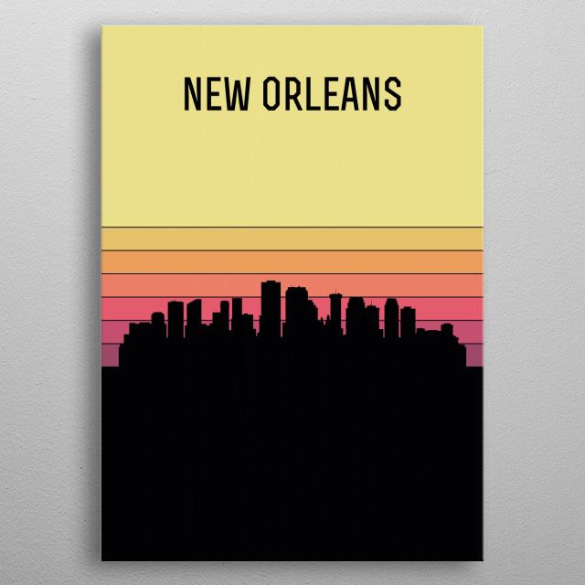 New Orleans Skyline metal poster