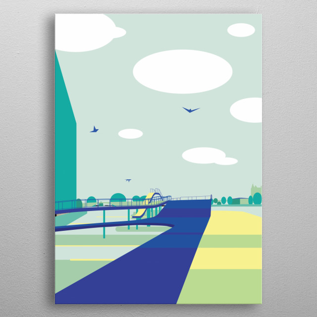 Illustration of a modern pier located in Copenhagen, Denmark. Project of pier by JDS Architects metal poster