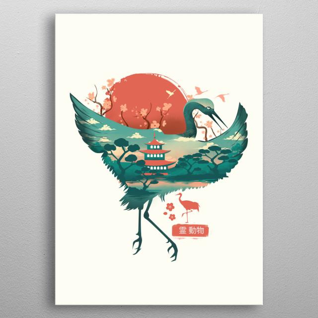 Spirit Animal Crane metal poster