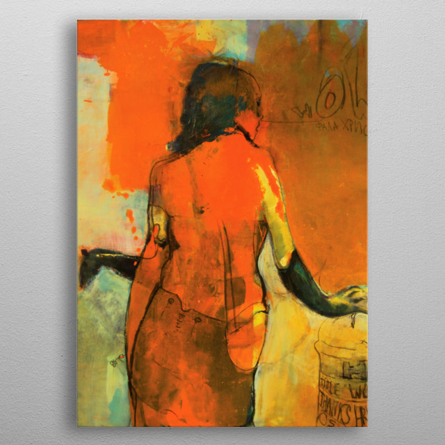 """This is a painting inspired by the """"red light district"""" in Amsterdam. It is a picture of imaginary girl thanking me for bringing her alive. metal poster"""
