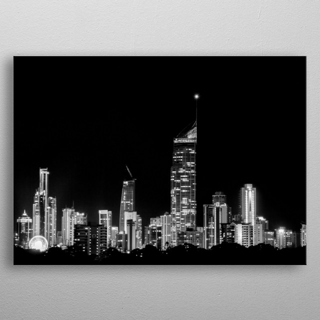 The beautiful skyline of the vivid beach town of Gold Coast in Queensland, Australia. metal poster